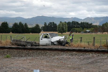 The ute involved in a fatal collision with a train in Carterton. A 15-year-old girl was killed.