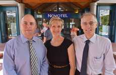 Andre Desbiens, Sue Mason-Baker and Bruce Swan at the Novotel Twin Waters for the AICD breakfast. Photo: John McCutcheon / Sunshine Coast Daily.