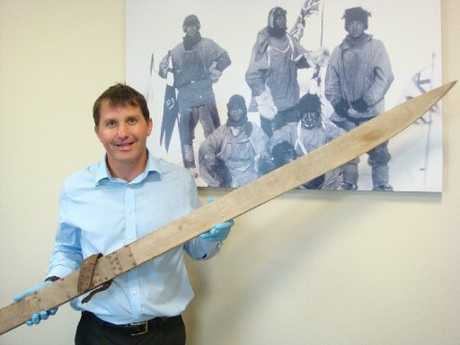 HISTORIC SKIS: Antarctic Heritage trust executive director Nigel Watson with one of Dr Atkinson's skis. PHOTO/ ANTARCTIC HERITAGE TRUST