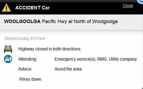 A screen shot of the traffic advisory notice at livetraffic.rta.nsw.gov.au/