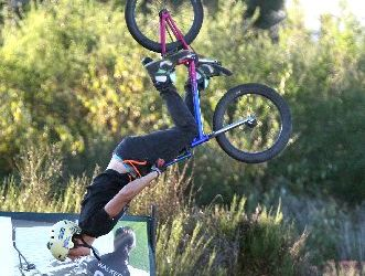 Whakatane's Daniel Rob won the under-17 section of the RotoVegas Jump Jam on Saturday night.