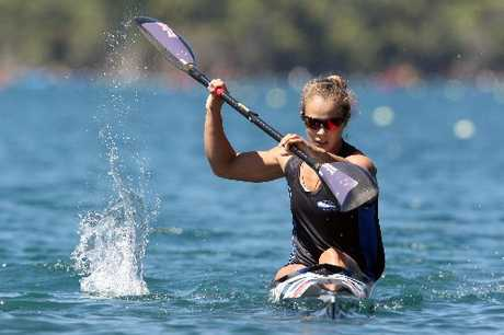 Olympian Lisa Carrington in action at Tikitapu (Blue Lake). The Ohope athlete took out both the 500m and 200m women's K1 Oceania sprint championships.