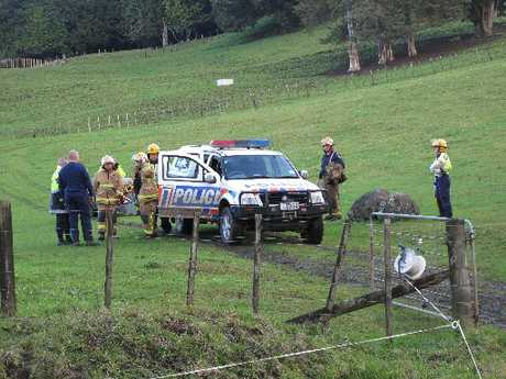 Emergency services at the scene of the fatal quad-bike incident at Awarua in 2010. 