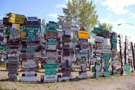 Among the tens of thousands of signposts in Lake Watson Sign Post Forest in Yukon Canada is one depicting Dargaville.