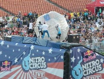 The Zorb stunt was a highlight of Nitro Circus Live's New Zealand tour.