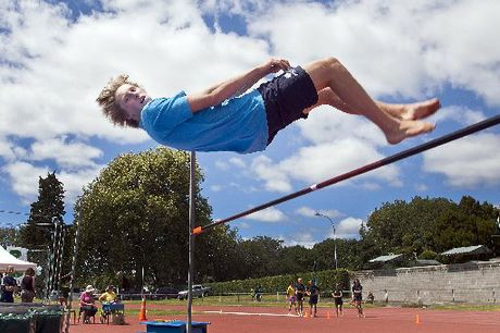 RECORD BREAKER: Jimmy Harwood set a new school high jump record by jumping 1.86m at the Bethlehem College athletics sports held at the Tauranga Domain.