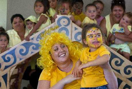 ANGELS: Courtney Helmbright and Jhyoti, 4, celebrate International Angelman Day at Te Puna Akoranga o Ngati Whakaue.