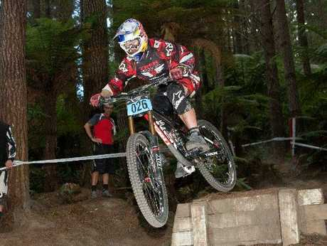 MOVING UP: Mountain biker Brook McDonald on his way to winning the downhill championships in Rotorua.
