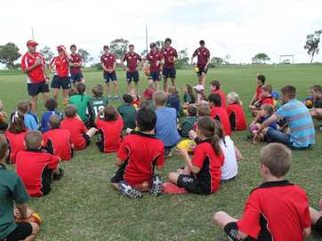 Six Brisbane Lions players came to Dalby last week to talk about Aussie rules and leadership. They ran some drills at the school before helping out with the first Auskick session of the year.