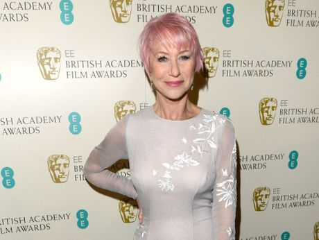 TICKLED PINK: Dame Helen Mirren attended the Bafta awards with new, candyfloss-coloured locks.