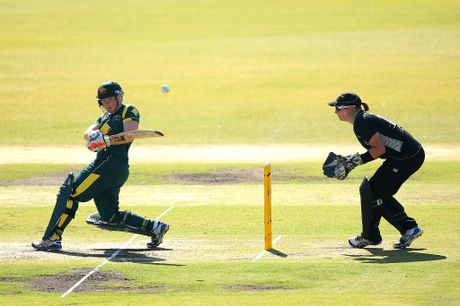 Jessica Cameron of Australia (L) bats during the Women's International Twenty20 match between the Australian Southern Stars and New Zealand at Junction Oval on January 24, 2013 in Melbourne, Australia.