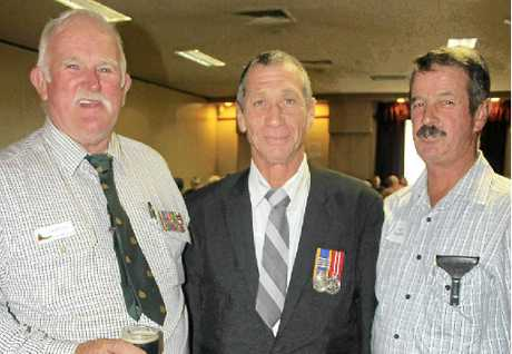100 YEAR COMMITMENT: Between them past and present 25th Battalion members Jim Mitchell, Dave Inch and Ken Palmer have been in service to their nation for more than 100 years.