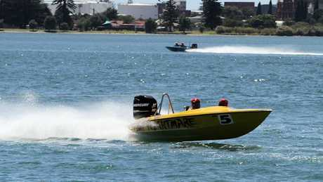 Powerboats in Tauranga Harbour.