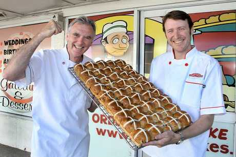 BEST BUNS: Father and son team Martin and Chad Meehan of Kidd&#39;s Cakes &amp; Bakery are celebrating after winning the inaugural Great New Zealand Hot Cross Bun Competition.
