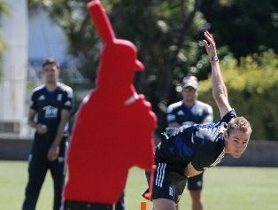 BOWLING 'EM OVER: James Anderson will have extra spring in his step in Napier today after eclipsing Sir Ian Botham's record last Sunday. PHOTO/DUNCAN BROWN HBT131066-01