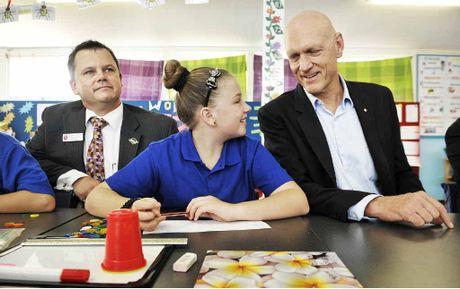 BIG PLANS: Monique Lucas chats with School Education Minister Peter Garrett and Leichhardt State School principal Lee Gerchow.