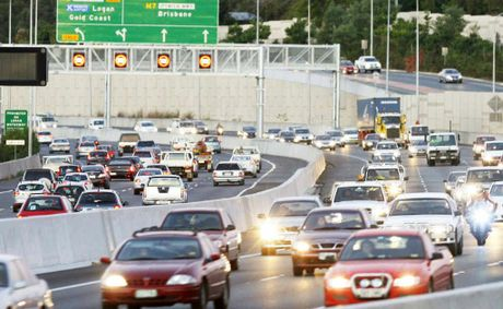 MOUNTING PRESSURE: Heavy traffic on the Ipswich Motorway at Goodna.