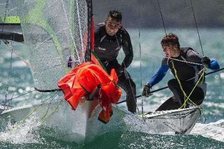 Josh Porebski (left) and Northland's Marcus Hansen in action during this month's Oceanbridge Sail Auckland event.