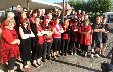 SOLIDARITY: Wanganui Intermediate School staff. PICTURE/BEVAN CONLEY