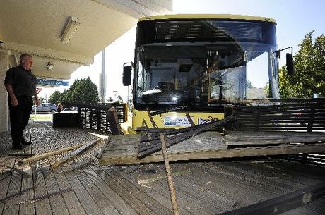 A bus crashed into the side of Cafe Alfresco just 10 minutes after closing time.