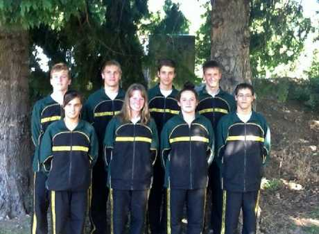 OLD AND NEW: The Carterton line-up for the national age group championships. Back row, left to right: Jock Cudmore, Joe Hammond, Samuel Smith, Jacob Smith. Front row: Amy Te Maro, Taylah Mawson, Bella Biggs, Nick Smith.