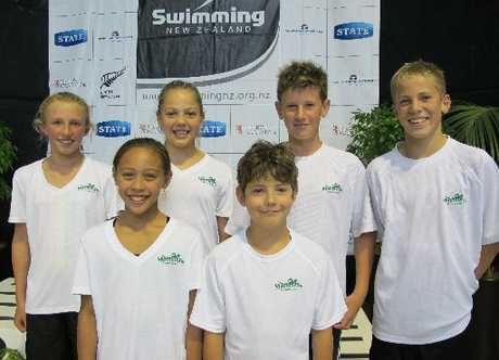 GREAT MEET: The Masterton team were: Back row, Kate Sims (left), Noemi Leinfellner, Oliver Donaldson and Mitchell Cockburn. Front row: Eternal Thompson and Mika Tobias.