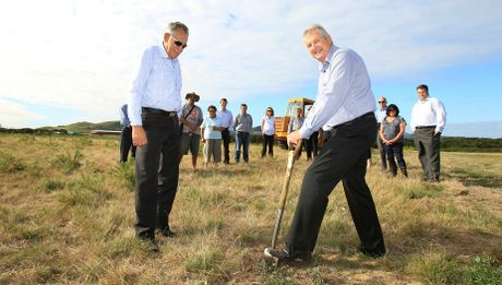 Kevin Haua of Mangatawa Papamoa Block Inc and Don Forgie of Tui Products break the soil for a new industrial building on Maori-owned land in Mount Maunganui.