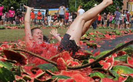 Melon Skiers who's slipped up were well cushioned by a massive fruit pile-up at the end of the course.