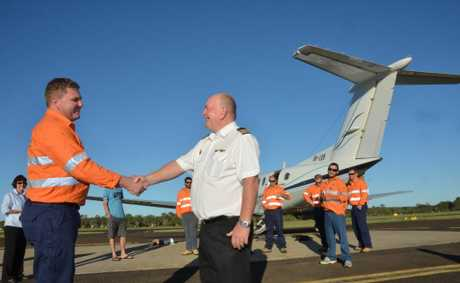 The first fly-in-fly-out service from Kingaroy took off yesterday morning.