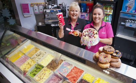Wendys Coffs Central franchisee Julie McMenemy and store manager Monique Van Den Boom show off some of the store's top treats.