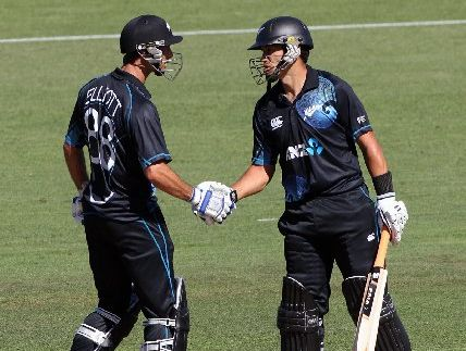 Grant Elliott (left) and Ross Taylor acknowledge Taylor&#39;s 50, in the New Zealand v England cricket ODI at McLean Park, Napier, last night. 