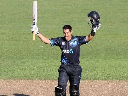Ross Taylor acknowledges a supportive crowd after making his ton. 