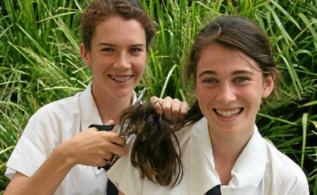 Scots PGC College Year 10 boarder Abbey McNamara, with sister Beth, will lose her locks to raise money for leukemia research.