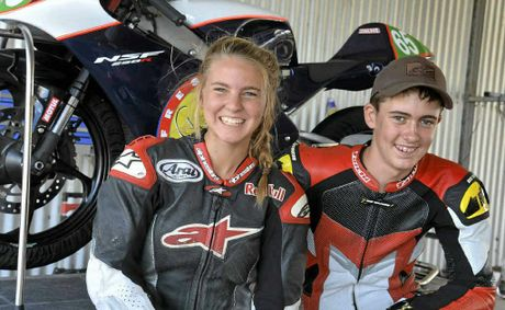 Tayla Relph and Troy Guenther at the Motorcycle Sportsmen of Queensland Challenge Round on Sunday.