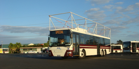 Howick and Eastern has attached a metal frame on one of its buses to a height of 4.2m to start trials next week.