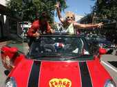 A groovy Brit-Pop street party was held in Masterton's CBD yesterday to welcome the Great British Car Rally into town.