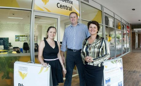 Phoenix Central staff (from left) Cass Edney, Christopher Watson and Wanita Lawson are ready to help at the new University of Southern Queensland's Toowoomba campus new shop front.