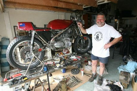 ROCKETEER: Veteran motorcycle racer Doug Fairbrother with one of his beloved bikes, a 1971 BSA Rocket.