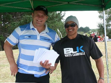 "Alex Smits, Rugby League Northland's head honcho, and Tommy ""T"" Tauranga had their hands full signing new players for the junior season at the Family Fun Day in Waipapa."