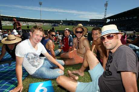 CHILLING OUT: Hawke's Bay United soccer coach Chris Greatholder ( right), with mates and players Conor Tinnion (left), Dakota Lucas, Bjorn Christensen, Harley Rodeka, and Aaron Jones at the New Zealand v England 2nd cricket ODI at McLean Park, Napier.