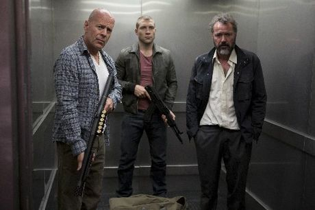 Bruce Willis (left) and Jai Courtney (centre) in A Good Day to Die Hard.