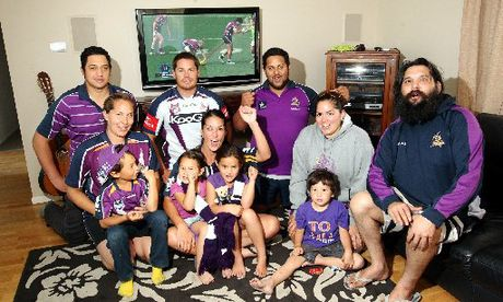 Relatives of Tohu Harris prepare for tomorrow's World Club Challenge rugby league match. Back row from left are Patrick Te Whiu, Henare Harris and Tane Cooper. Middle row from left are Waimarie Harris, Nicole Harris, Ngahuia Harris and Dylan Harris. In front from left are Luca Te Whiu, Isla Te Whiu, Alexis Harris and Arie Te Whiu.