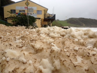 Sea foam at Yamba following Friday's storm event.