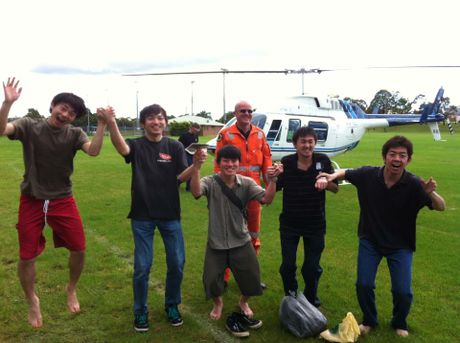HAPPY campers: Five tourists rescued from floodwaters at Bungawalbyn. Photo: SES Richmond Tweed