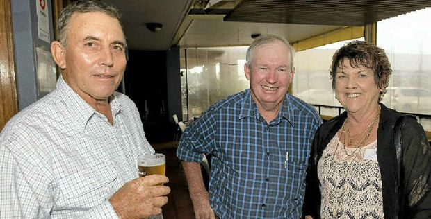 ALL SMILES: Sharing a laugh at the Mt Tyson Junior Farmers reunion are (from left) John Dooley, Allan Petersen and Kay Greer.