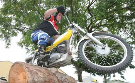 Timothy Evans from Rockhampton Motorcycle Trials at the Sports and Health Expo at the Rockhampton Showgrounds on Sunday. Photo: Chris Ison / The Morning Bulletin
