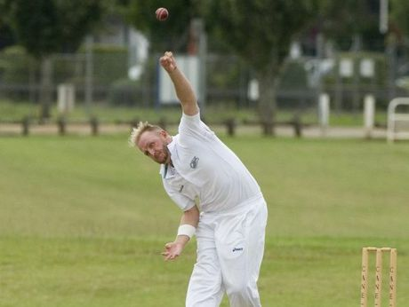 Aaron Watson bowls for the Cavaliers in yesterday's Webb Shield decider against Papua New Guinea.