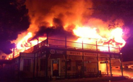 A photo by Paul Robertson, shared to the Tweed police Facebook page, shows the pub ablaze.