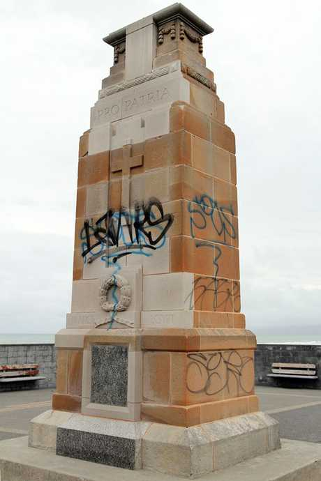 &quot;GUTLESS&#39;&#39;: Taggers who attacked the New Brighton war memorial have angered locals.