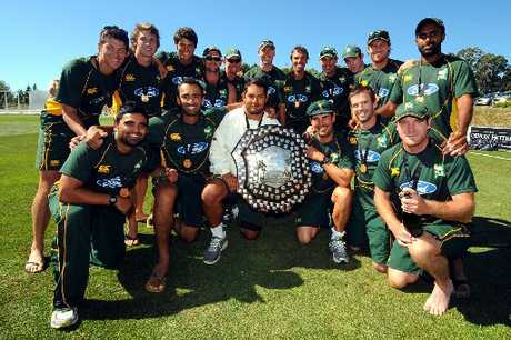 HAPPINESS IS ... the Central Districts Stags lifting the four-day first-class Plunket Shield at Saxton Oval, Nelson, on Saturday.